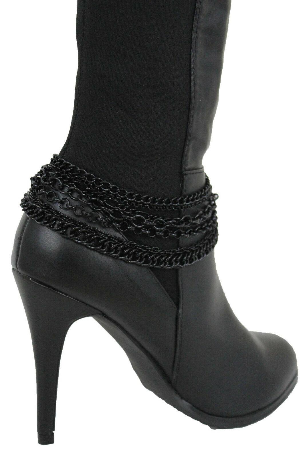 Women Boot Bracelet Dark Cool Black Metal Chains Casual Anklet Bling Shoe Charm