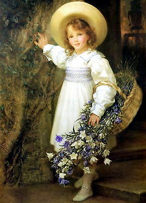 GOETZE Print HAREBELLS Portrait of Victorian Girl Dress Straw Hat Basket Flowers