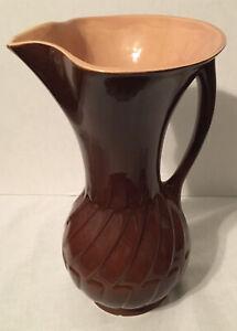 """VINTAGE ROSEVILLE USA: ART POTTERY HANDLED BROWN 10"""" VASE EWER PITCHER 1106-10"""