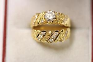 22ct 916 Sparkling Indian Size I Gold Engagement Wedding Ring Set