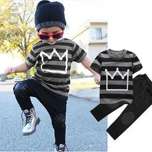 e615b5c60 2Pcs Toddler Kids Boys T-shirt Tops Harem Pants Trousers Tracksuit ...