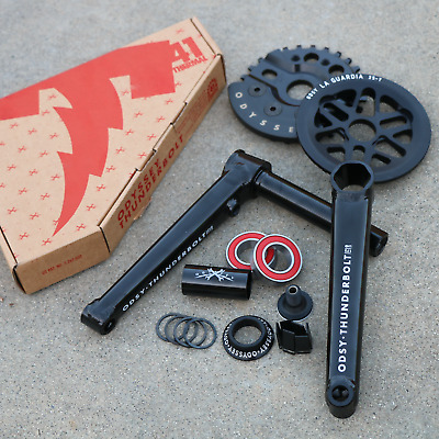 ODYSSEY BMX BIKE THUNDERBOLT BICYCLE CRANK SPROCKET KIT CHROME//BLACK