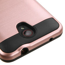 NEW FOR ZTE Sonata 3 CRICKET PHONE ROSE GOLD BRUSHED HYBRID SKIN COVER CASE