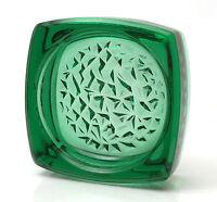 Sklo Union Czech Green Pressed Glass Bowl by Rudolfova Huts Glassworks 1960s