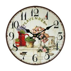 Vintage Rustic Wooden Wall Clock Floral Pattern Shabby Chic Retro ...