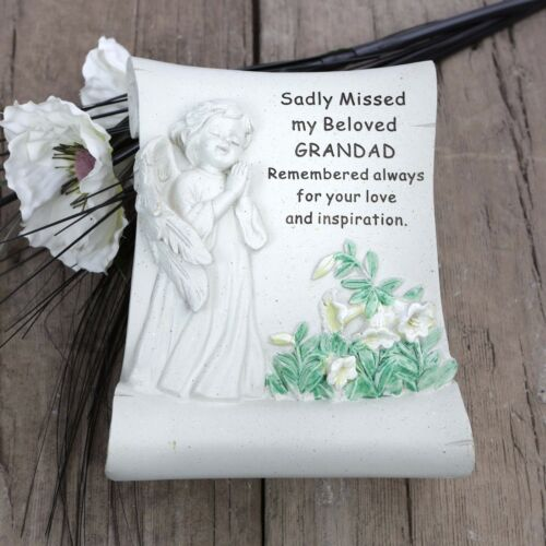 David Fischhoff Grave Memorial Cherub Scroll Ornament Stone Beloved Grandad 740
