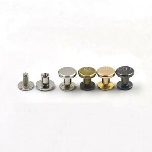 Details about 9x6 5mm Brass Flat Head Button Stud Screwback 4 Rivet Leather  Screw Chicago nail