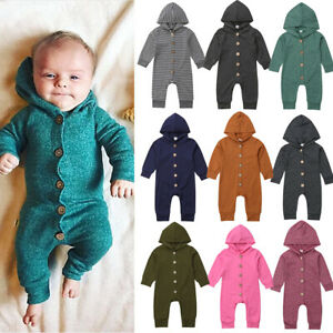 327ad635b USA Toddler Baby Boy Girl Infant Hooded Romper Jumpsuit Bodysuit ...