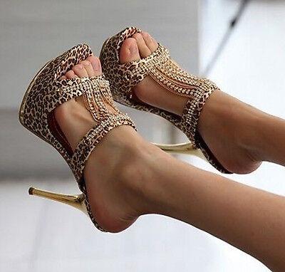 Partywomens High Heels Rhinestone Stiletto Platform Leopard Slipper Sandal Shoes
