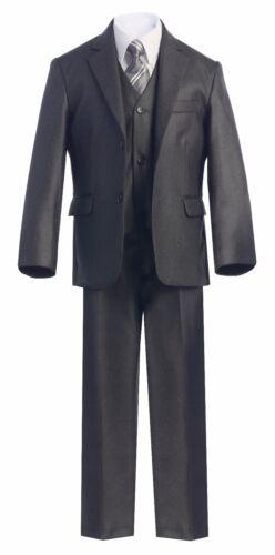 Magen Boys charcoal suit 5 pc set coat,vest,pant,shirt,clip tie BS-27 Size 1-18