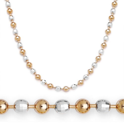 2mm Ball Faceted Bead Chain Necklace 925 Sterling Silver 14k Rose Gold Italian