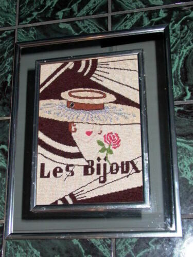 """Les Bijoux"" Art Deco Needlepoint Mirror Frame"