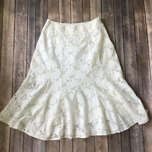 Coldwater-Creek-Skirt-Women-4-6-XS-Lace-Off-White-Cream-A-Line-Gored-Boho-Eyelet