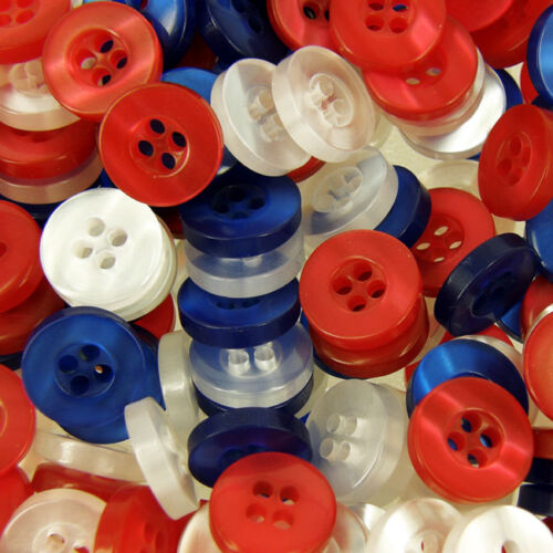18 x 12mm Red//White//Blue Buttons Royal Wedding Card decoration Embellishment B19