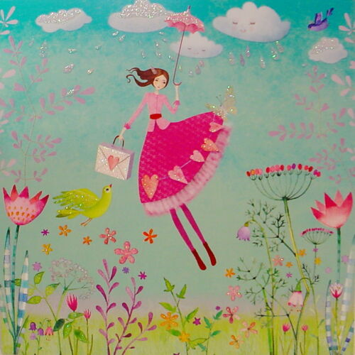 Mila Marquis Postkarte 14x14 Glitzer*Frau mit Schirm+Vogel*Grußkarte*Blumen