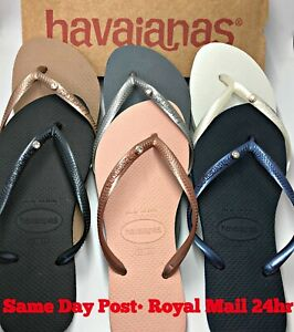 check out c37aa a1d8d Details zu Original Havaianas Flip Flops Slim Crystal or Charms  Personalised Genuine Women