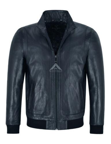 RACER Mens Leather Jacket Semi Veg Tanned Navy Casual Italian Lambskin Tops A26