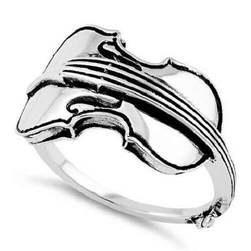 Fine .925 solid Sterling Silver Cello Musical Instrument,Ring size 9