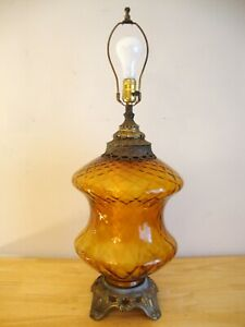 Details About Vintage Mid Century 30 Amber Glass Hollywood Regency Table Lamp W Night Light