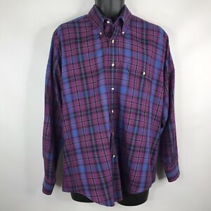 Vintage-80s-Levis-Colorgraphs-Mens-Purple-Blue-Plaid-Button-Down-Shirt-Size-L