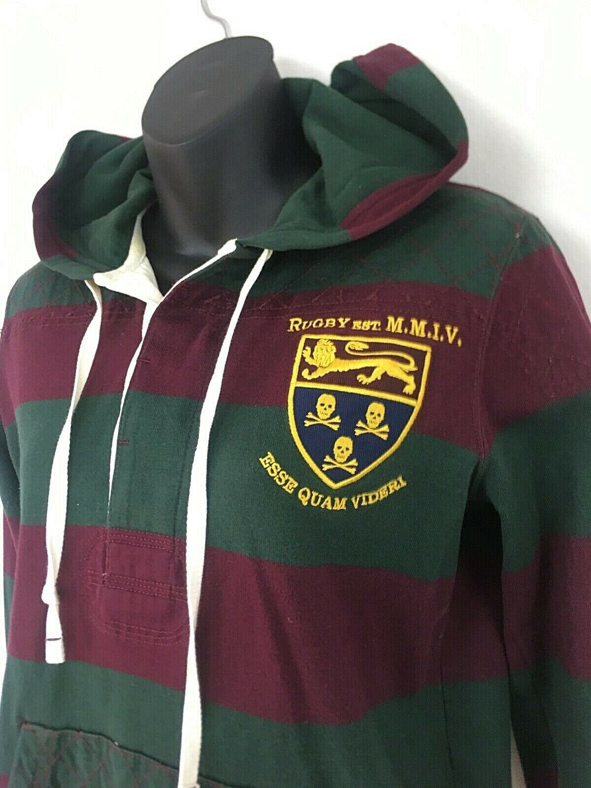 Rugby Ralph Lauren damen Sweatshirt Hood Striped Crest Pocket Distressed M