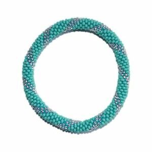 Turquoise-Blue-and-Silver-Crocheted-Beaded-Bracelet-Czech-Seed-Beads-Nepal-PB325