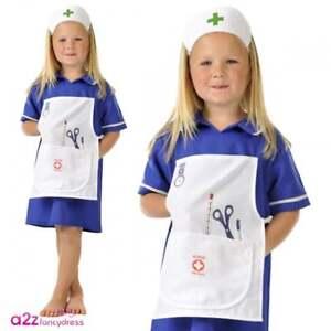 2cda6d1b8fb Details about Girls Traditional Blue Nurse Costume Hospital Medical 999  Emergency Fancy Dress