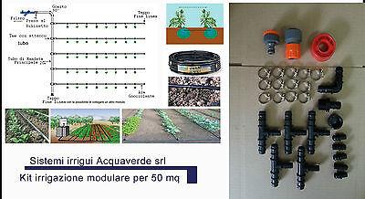 Eco kit impianto irrigazione goccia modulare ampliabile completo per orto 50 mq