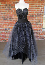 VINTAGE NIGHT MOVES POKA DOT STRAPLESS BUILT IN BRA BALL GOWN DRESS SIZE 6