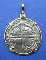 14k Gold Bezel Rescued Treasure Coin Reproduction Pendant Pirate Piece Of Eight