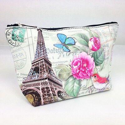 Kosmetiktasche Eiffelturm Rose Postal Briefmarke Case Makeup Bag Etui Nostalgie