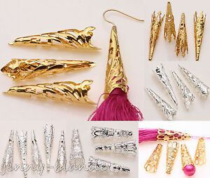 50-Gold-Silver-Plated-Long-Cone-Horn-Spacer-Bead-Caps-Earring-Finding-Craft-DIY