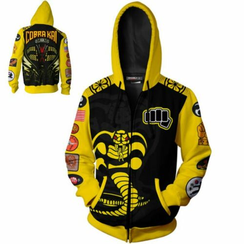 Mens Cobra Kai Karate 3D Print Casual Sweatshirt Hoodie Tops Zipper Jackets Tops