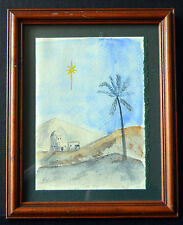 Signed Watercolor Painting Desert Landscape Star Framed Wall Art