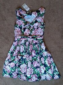 Joe-Browns-Summer-floral-skater-dress-with-collar-size-12-brand-new-and-unworn