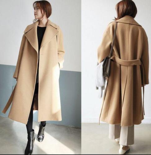 Mélange Lâche Veste Outwear Fit Épaissir Long Femmes Laine Slim Trench Cachemire Manteau 0PwOkn