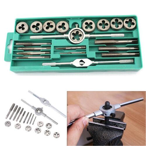 Car Metal Hand Tap Set Tool Screw Wrench Thread Plugs Taps Dies Plugs  20Pcs Kit