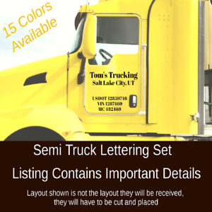 Image is loading SEMI-TRUCK-DOOR-LETTERING-Company-Name-Town-State-