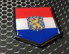 "Holland Flag Domed CHROME Emblem Proud Nederland Flag Car 3D Sticker 2x 2.25"""