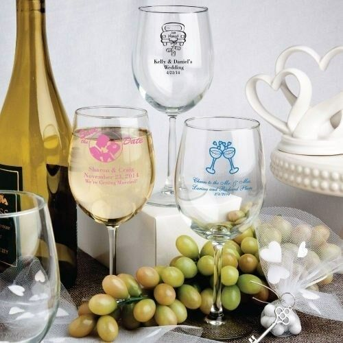 30 Personalized Wine Goblet Glasses Wedding Bridal Baby Shower Party Table Favor