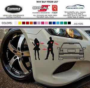 JDM I Love My Honda Civic Sticker Vinyl Decal EK EK EK - Honda civic decal stickers
