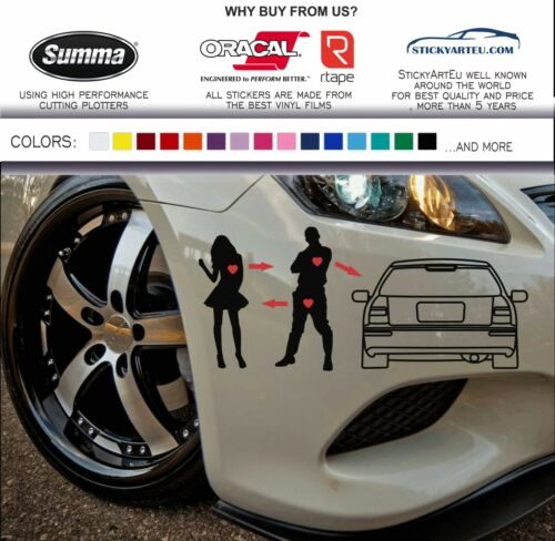 JDM I love my honda civic sticker vinyl decal 96-00 EK4 EK5 EK3 EK9 EJ6 EJ7