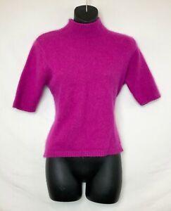 Apostrophe-Women-039-s-Short-Sleeve-Purple-Angora-Sweater-Mock-Turtleneck-Sz-L