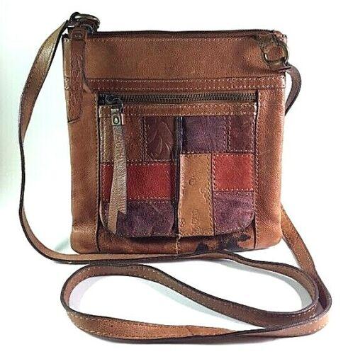 Details about  /FOSSIL Floral Stripe Leather Vintage Style Shoulder Bag Purse Organizer VGUC
