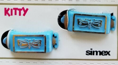 """Blue Butterfly 1950/'s /""""Simex/""""  Kitty Pony Barrettes Vintage Hair Barrettes"""