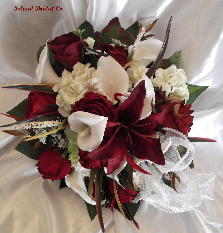 Soie De Mariée Fleur Mariage Bouquet Set 10 PC Rouge Blanc Lys ronde