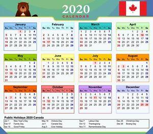 Calendar Canada With Public Holidays