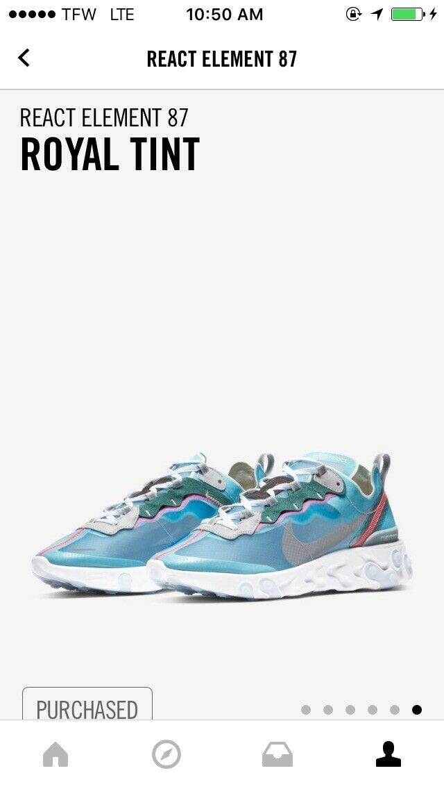 Nike React Element 87 Size US 11 AQ1090-400 Royal Tint Wolf Grey Solar Red