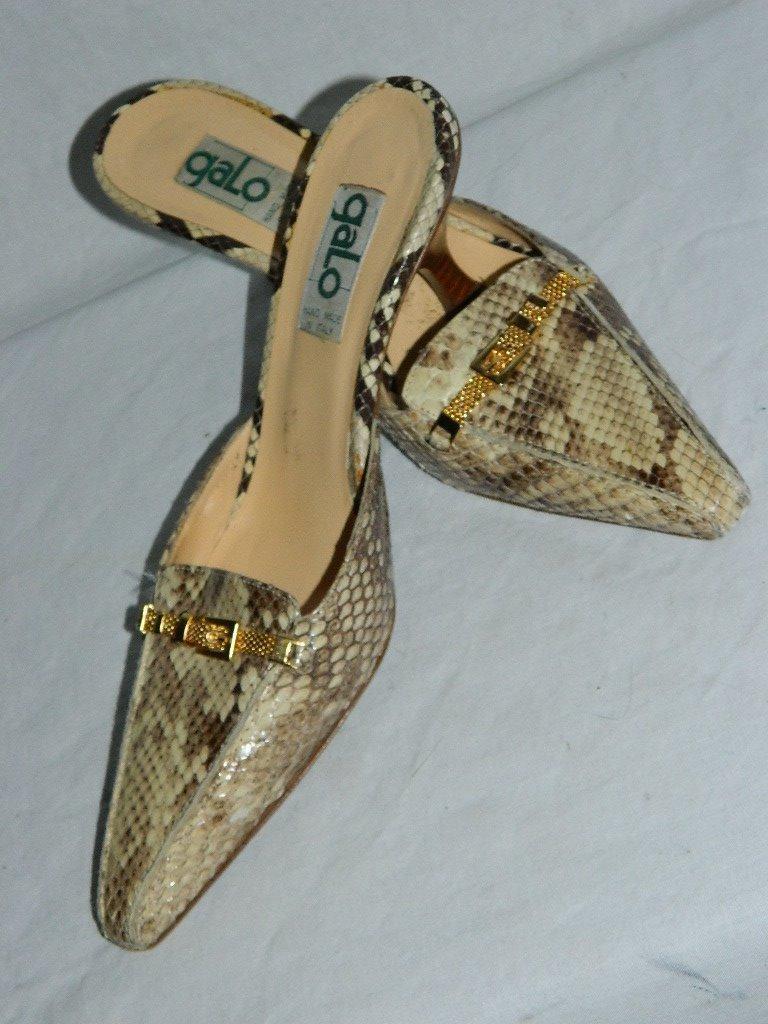 offrendo il 100% Galo Galo Galo Beige Snake Skin Mules Slides w oro Mesh Strap Handmade  , Dimensione 6.5  negozio online