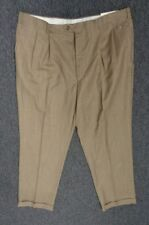 LAUREN RALPH LAUREN NWT Brown Flat Front Dress Pants Sz 44W X 32L Wool SMA10335